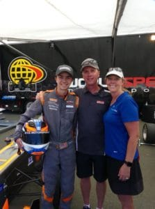 Picture of racing driver Rayce Dykstra and his family